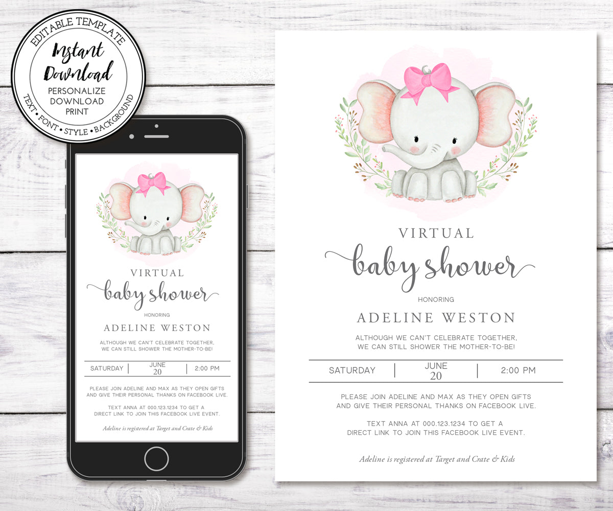 Virtual Baby Shower Invitation, Elephant Baby Shower, Girl Baby Shower, Long Distance Shower, Instant Download, Editable Template