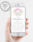 Virtual Baby Shower Invitation, Iphone virtual shower invite, Elephant Baby Shower, Girl Baby Shower, Long Distance Shower, Instant Download, Editable Template
