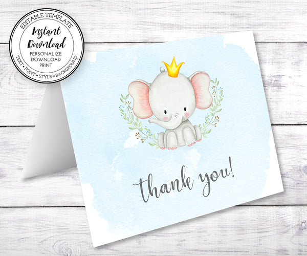 baby elephant shower thank you card template
