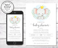 "Virtual Baby Shower invitation for smart phone or 5 x 7"", baby elephant virtual baby shower"
