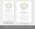 "1080 x 1920 px baby elephant virtual baby shower invitation, 5 x 7"" virtual baby shower template"