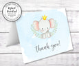 Baby Elephant baby shower thank you card template