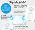 Boy Elephant virtual baby shower templates, invitaton, zoom background, thank you card