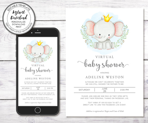 Virtual Baby Shower Invitation, Elephant Baby Shower, Boy Baby Shower, Long Distance Shower, Instant Download, Editable Template