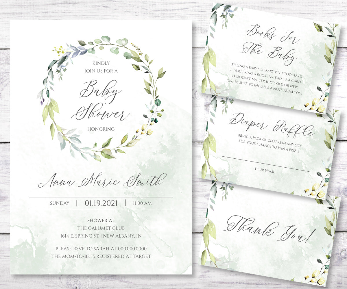 Greenery baby shower invitation, books for baby card, diaper raffle, and thank you card templates