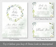 greenery baby shower invitation, books for baby card and thank you card