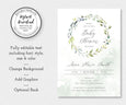 greenery baby shower invitation editable template