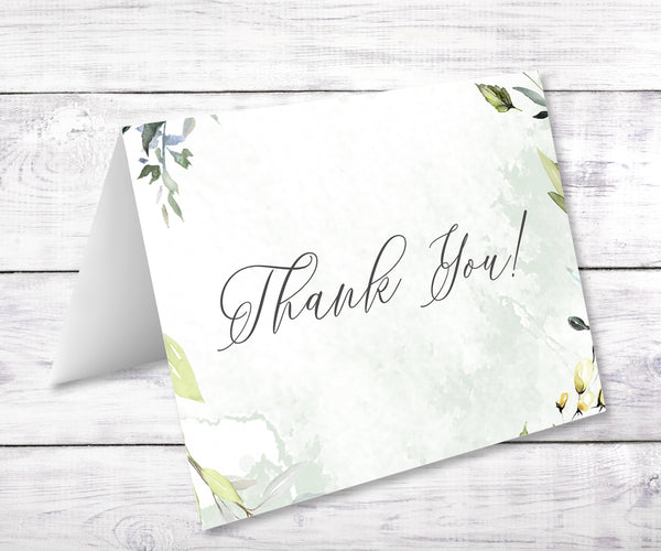 Greenery baby shower thank you note card