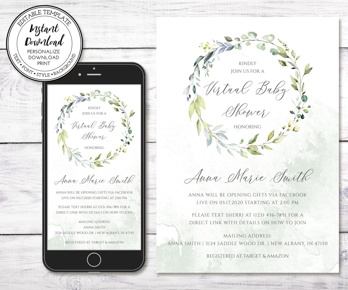 Greenery Virtual baby shower invitation templates, iPhone and 5 x 7 sizes
