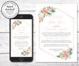 Floral Virtual Baby Shower Invitation, Editable Template, Long Distance Shower, Social Distancing Shower, Instant Download