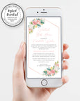 Iphone Floral Virtual Baby Shower Invitation, Editable Template, Long Distance Shower, Social Distancing Shower, Instant Download