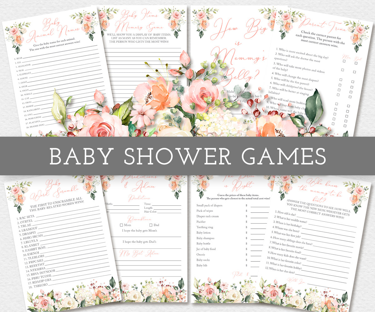 Pink and white floral, Boho, Baby shower games bundle, eight games