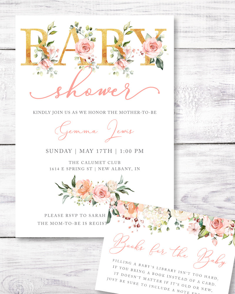 Pink floral, gold letters baby shower invitation