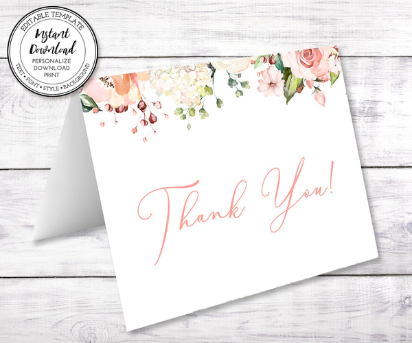 thank you card templates, pink white floral, boho thank you card