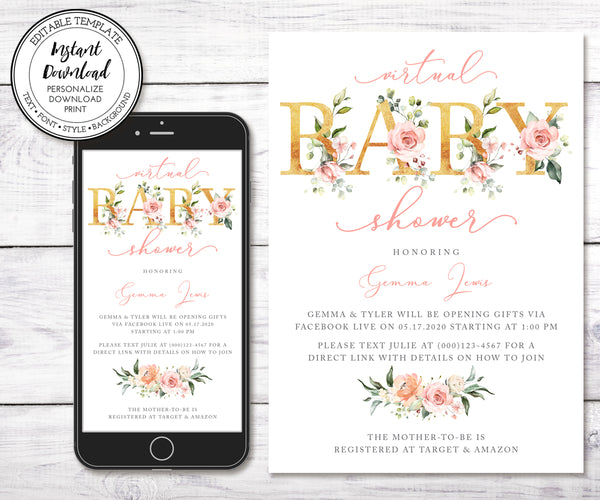 Baby Girl Virtual Baby Shower Invitation, Pink Gold Floral, Social Distancing Shower, Long Distance Shower, Editable Template