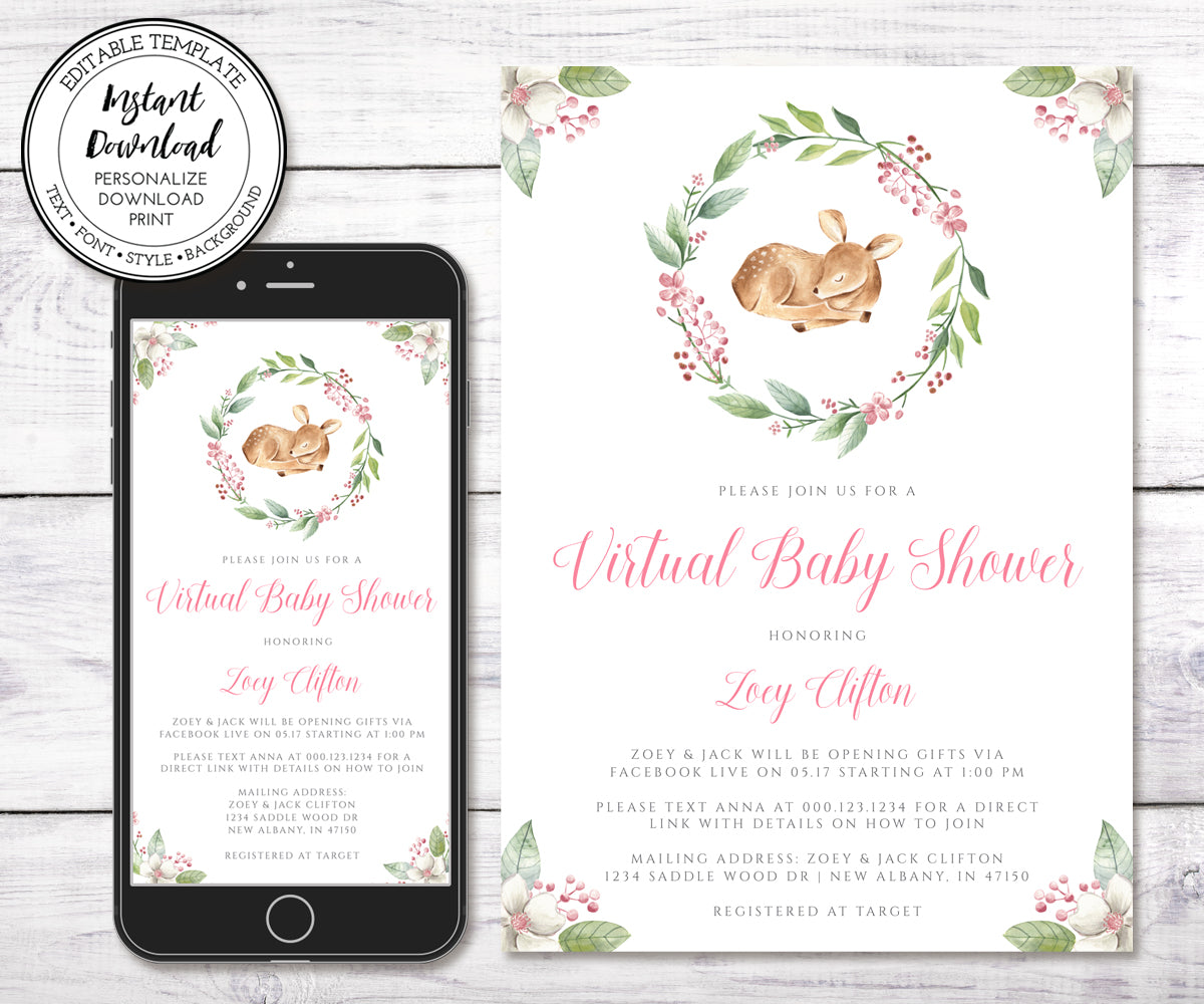 Deer Baby Shower Invitation, Editable Template, Virtual Baby Shower, Social Distancing Shower, Long Distance Shower, Instant Download