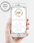 I phone, Deer Baby Shower Invitation, Editable Template, Virtual Baby Shower, Social Distancing Shower, Long Distance Shower, Instant Download