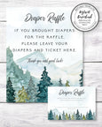 mountains and trees diaper raffle sign and card