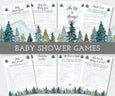 Adventure, mountains trees, baby shower game bundle