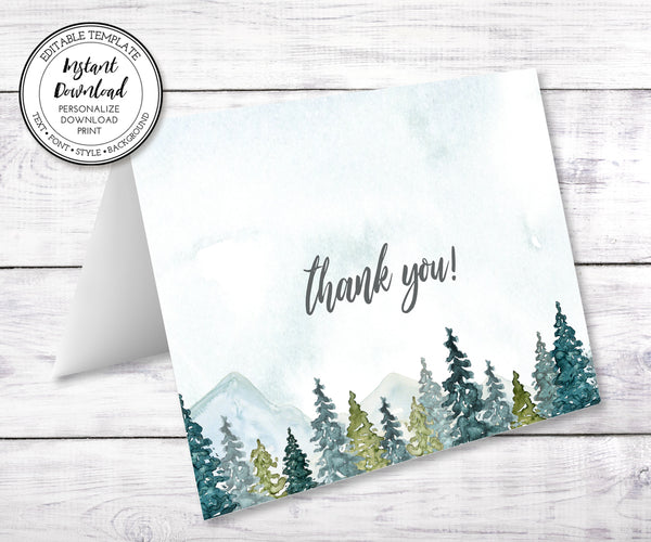 Mountains & Trees thank you note card