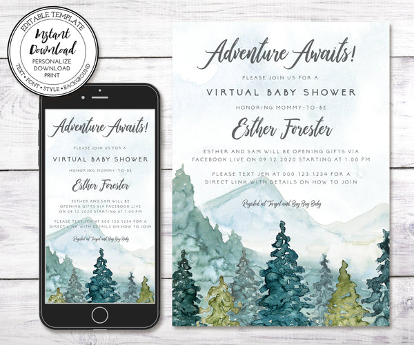 Adventure Virtual Baby Shower Invitation, Editable Template, Mountains Baby Shower, Long Distance Shower, Email Shower Invitation