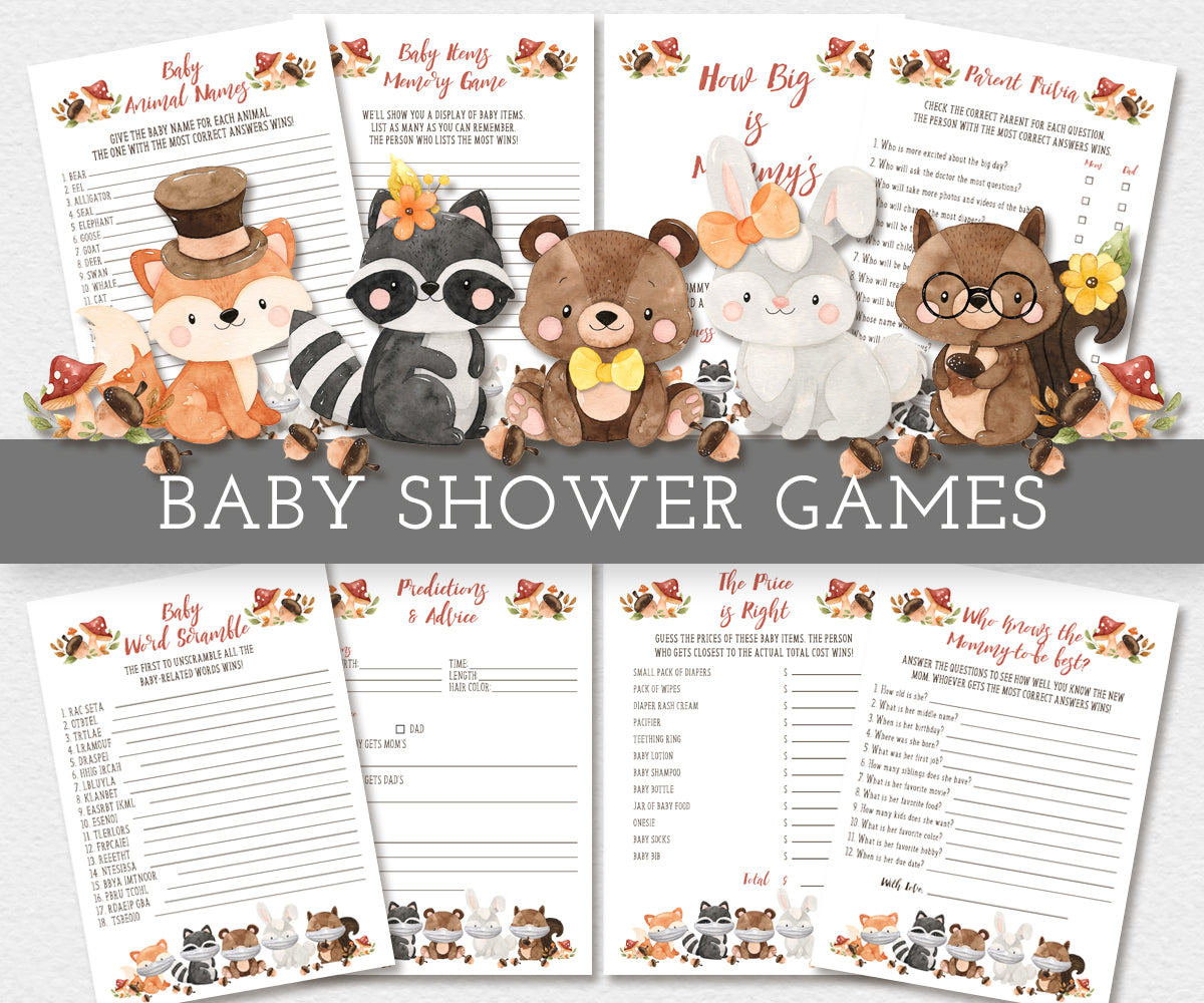 Woodland baby shower games bundle features adorable baby forest animals