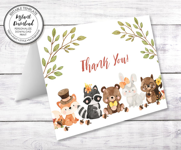 woodland baby shower thank you card with adorable forest animals