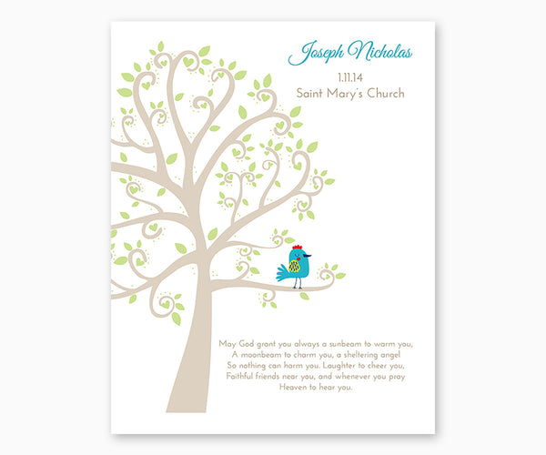 Personalized Baptism or Christening Tree with Baby Bird, White Background Baby Boy