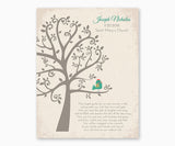 Personalized Baptism or Christening Tree with Baby Bird boy