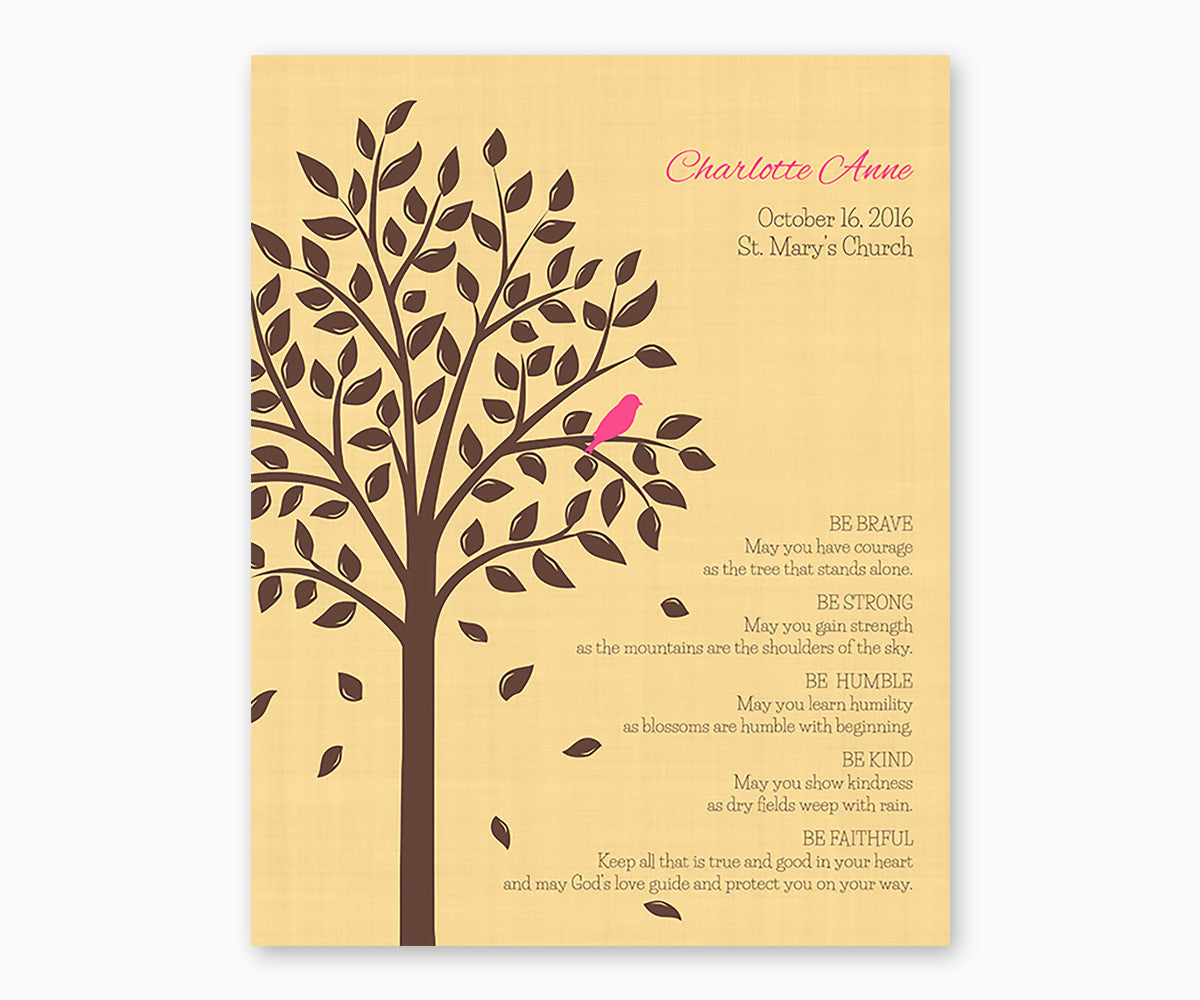 Personalized Baptism or Christening Tree with Baby Bird, Be Brave Verse, Girl Bird