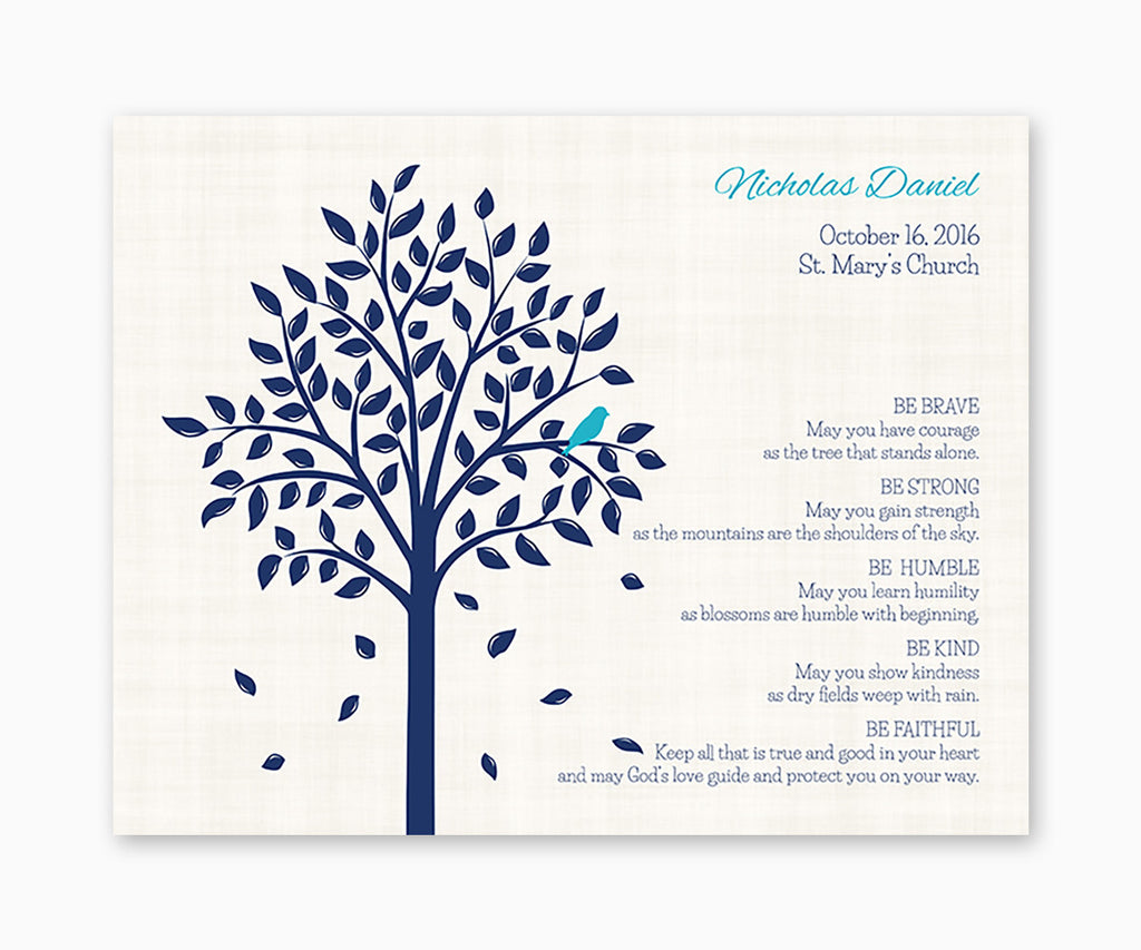 Personalized Baptism or Christening Tree Be Brave Verse, Baby Bird, Keepsake Print, Baby boy
