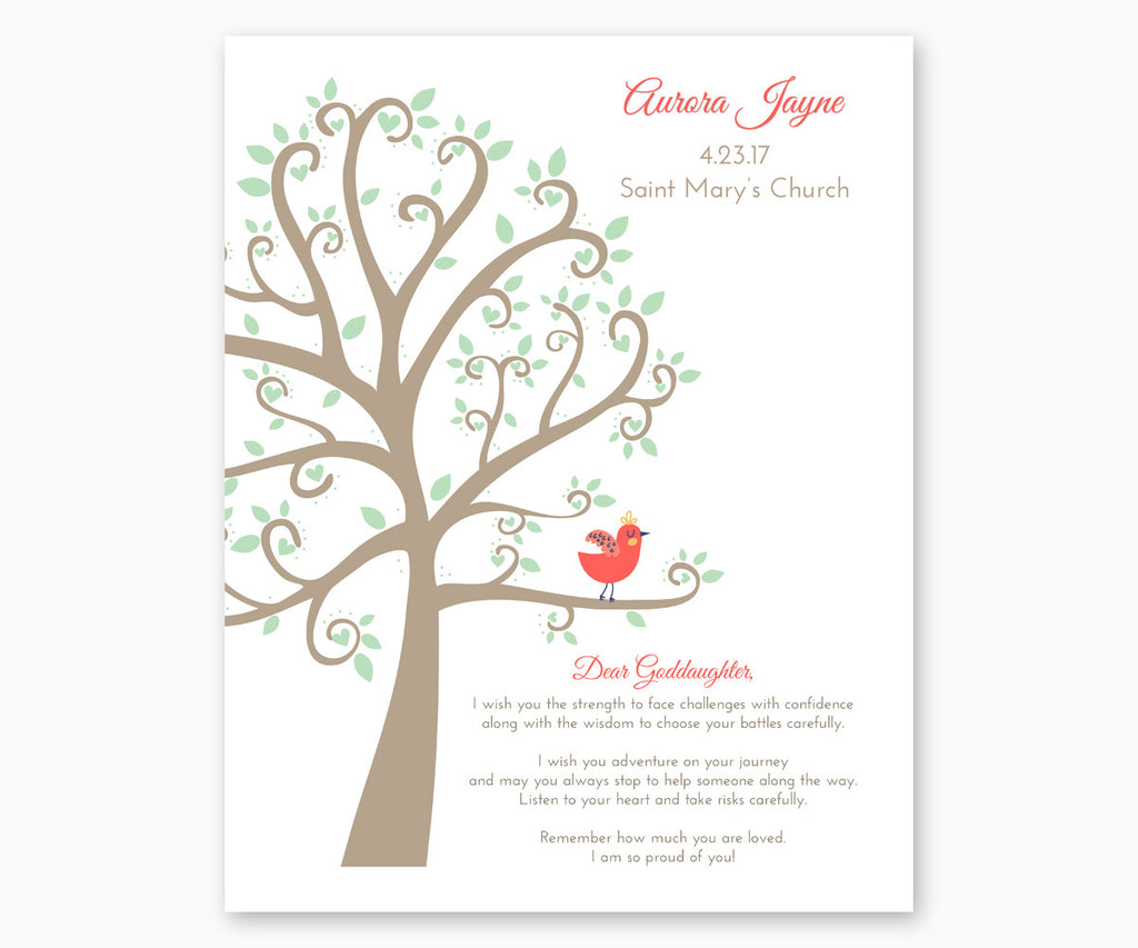 Personalized Baptism Gift Print for Goddaughter, Baptism Tree White Background