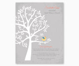 Personalized Baptism Tree Gift Print for Goddaughter