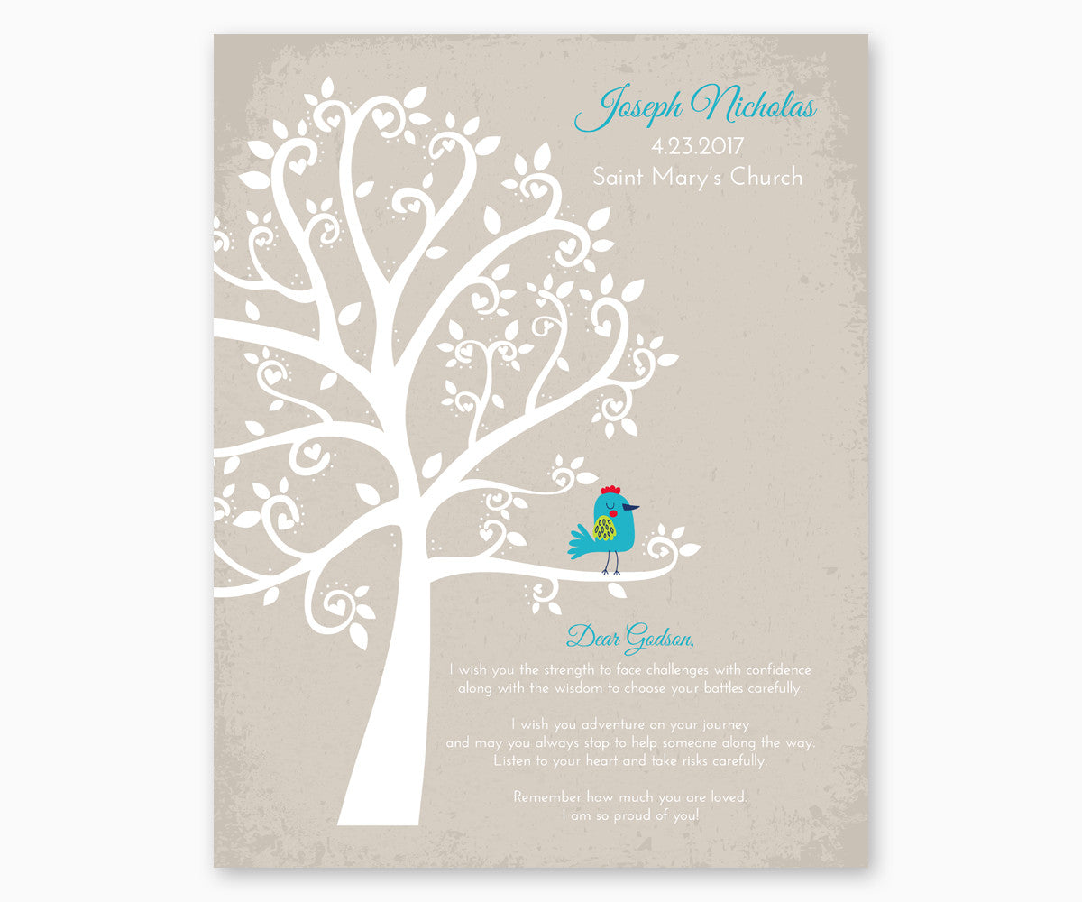 Personalized Baptism Tree Gift Print for Godson
