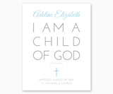 Personalized Baptism Print I Am A Child Of God Galatians 3:26