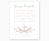 Personalized Baptism Gift Print Psalm 91:11 For God Shall Give His Angels Charge Over You