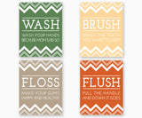 Bathroom rules Wash Brush Floss Flush, color set A