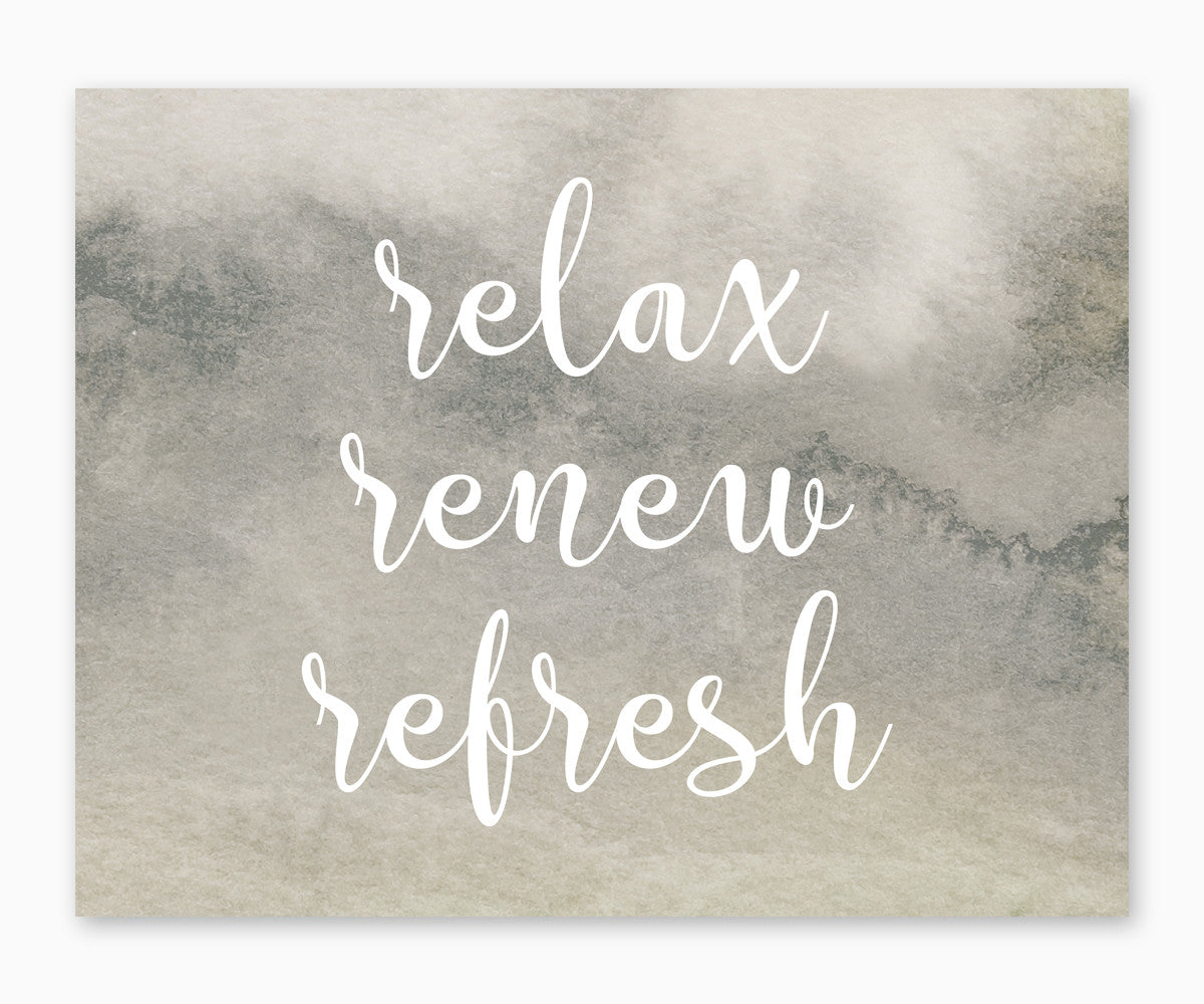 Relax Renew Refresh Gray Watercolor Bathroom Wall Art