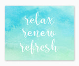 Relax Renew Refresh Blue Green Watercolor Bathroom Wall Art