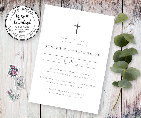 Minimalist Gender Neutral Baptism Invitation, Instant Download Editable Template