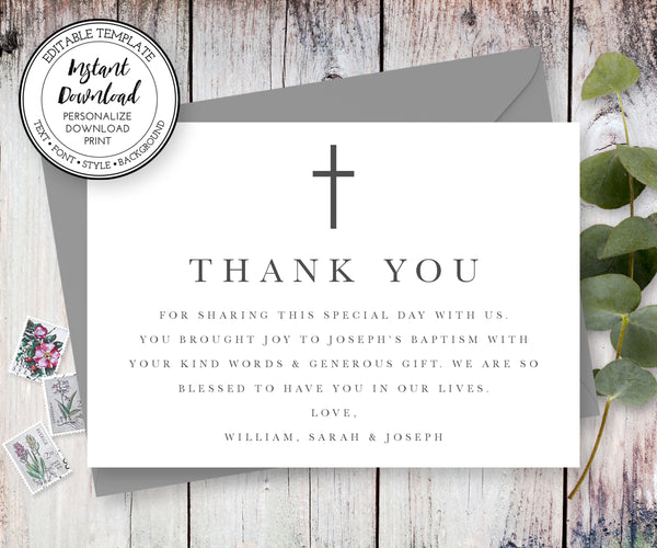 Minimalist Gender Neutral Baptism or First Communion Thank You Card, Instant Download Editable Template