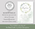 Greenery Baptism Invitation, Boho Eucalyptus, Gender Neutral, Instant Download, Editable Template
