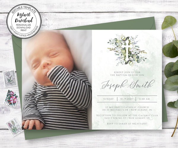Photo Baptism Invitation with Greenery, Gender Neutral Baptism Invitation, Instant Download, Editable Template