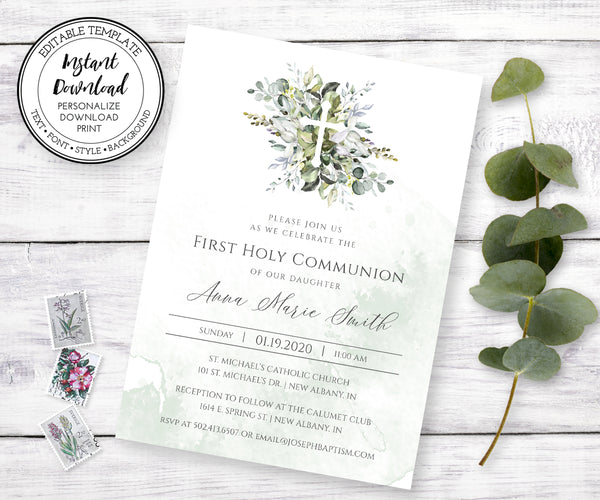 Greenery First Communion Invitation, Gender Neutral First Holy Communion, Instant Download, Editable Template
