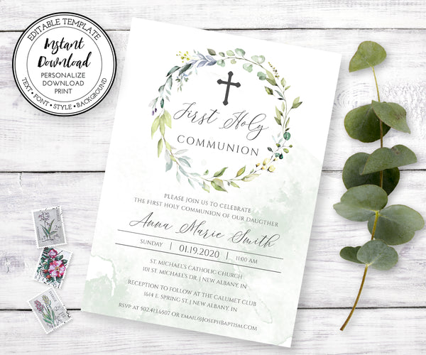 Greenery First Communion Invitation, Boho Eucalyptus, Gender Neutral, Instant Download, Editable Template