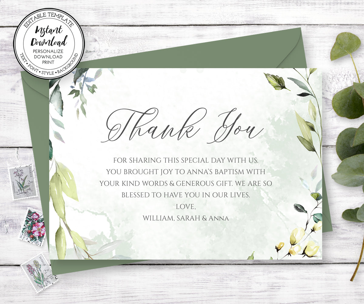 Greenery Baptism Thank You Card, Baptism Thank You Note, First Communion Thank You Card, Instant Download, Editable Template