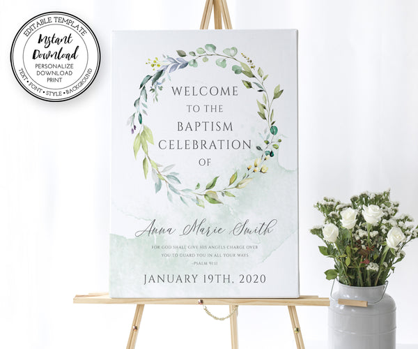 Greenery Baptism Welcome Sign Template, First Communion Welcome Sign Template, Editable Instant Download Template