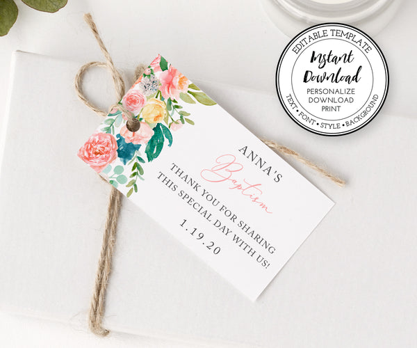 Baptism or First Communion Favor Tag, Pink Floral Gift Tags, Instant Download, Horizontal Editable Template
