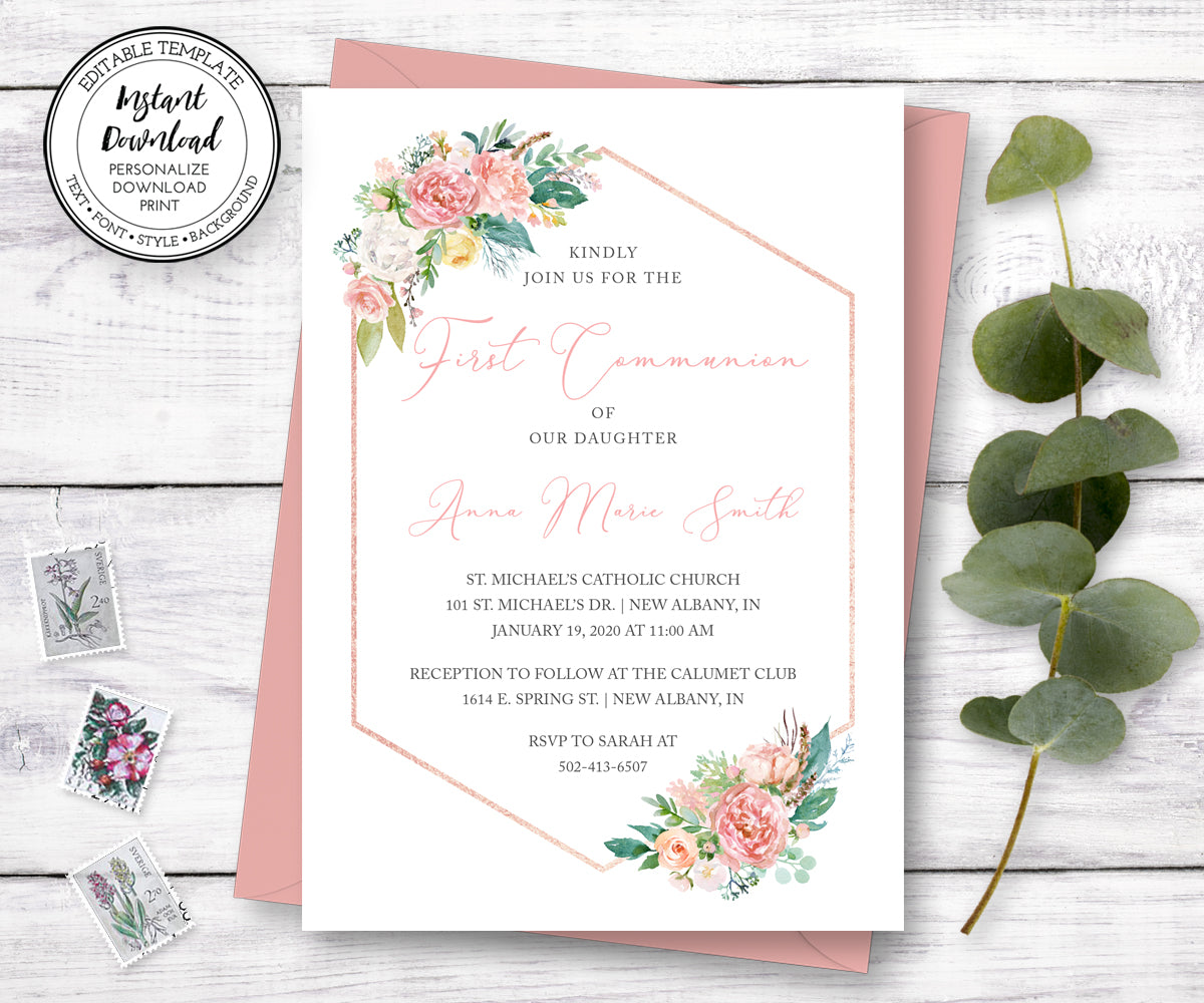 Pink Floral First Communion Invitation, Instant Download, Editable Template