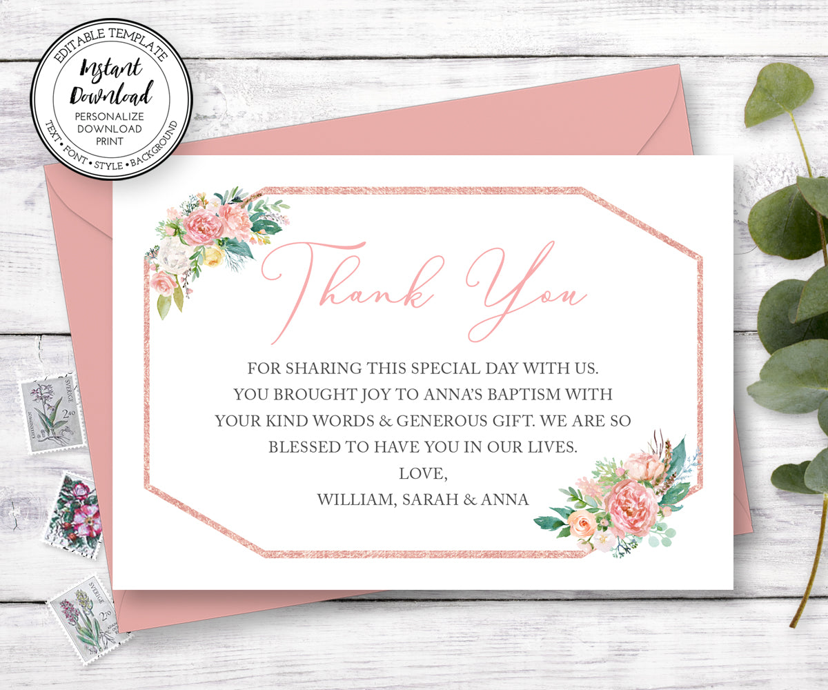 Pink Blush Floral Baptism Thank You Card, First Communion Thank You Card, Instant Download, Editable Template
